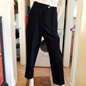 Vtg 80s Escada Black Pleated High Rise wool pants